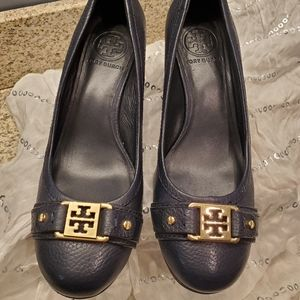 Tory Burch Natalya Mid Wedge Tumbled Leather Heels